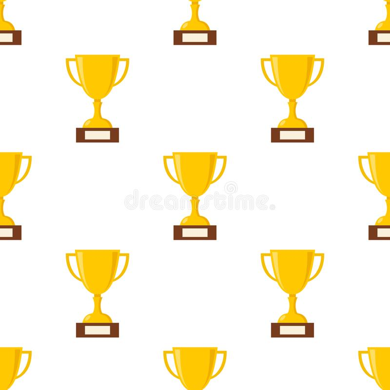 奖杯平的象无缝的样式 库存例证