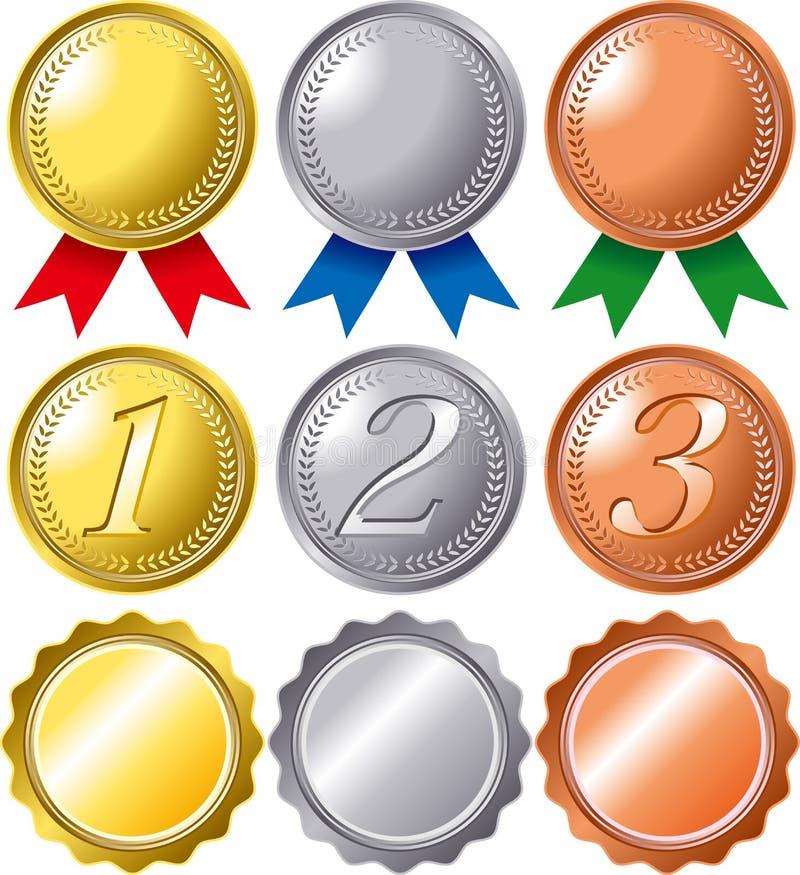 奖牌等级集 向量例证