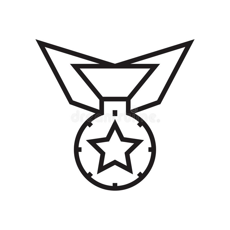 奖牌象在白色背景和标志隔绝的传染媒介标志,奖牌商标概念 向量例证