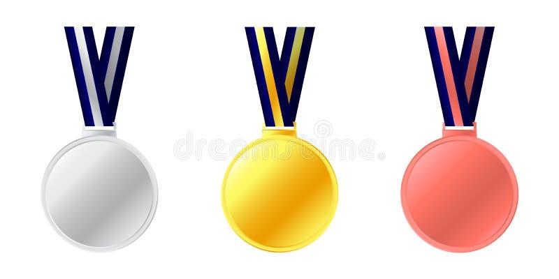 奖牌象 典雅的金黄银色古铜标记汇集集合 金,银色和铜牌象 在白色backgro的奖奖牌 向量例证