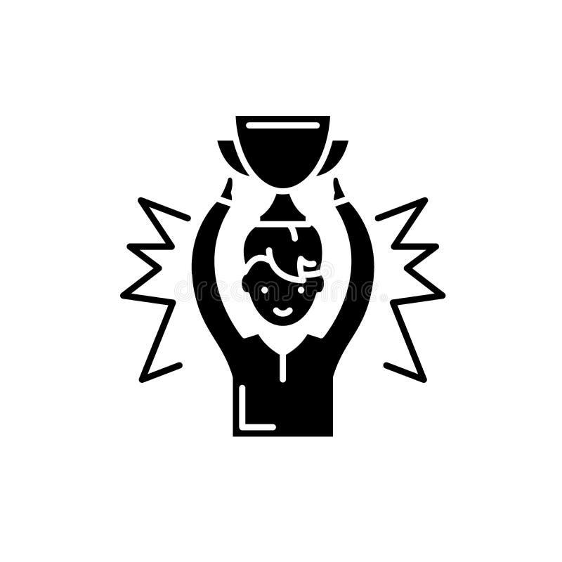 奖章获得者黑色象,在被隔绝的背景的传染媒介标志 奖章获得者概念标志,例证 向量例证