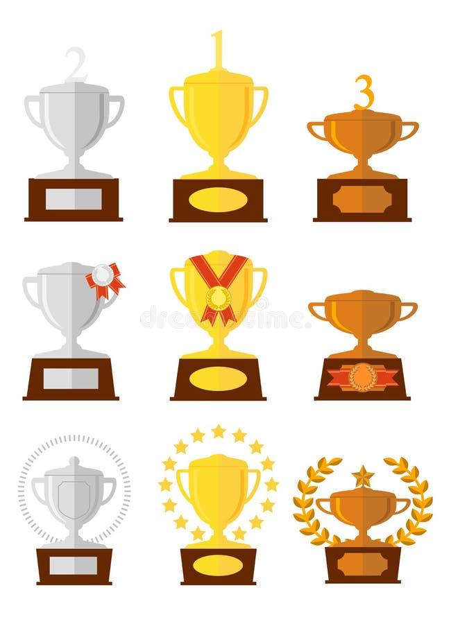奖被设置的杯子象 古铜色金银 库存例证