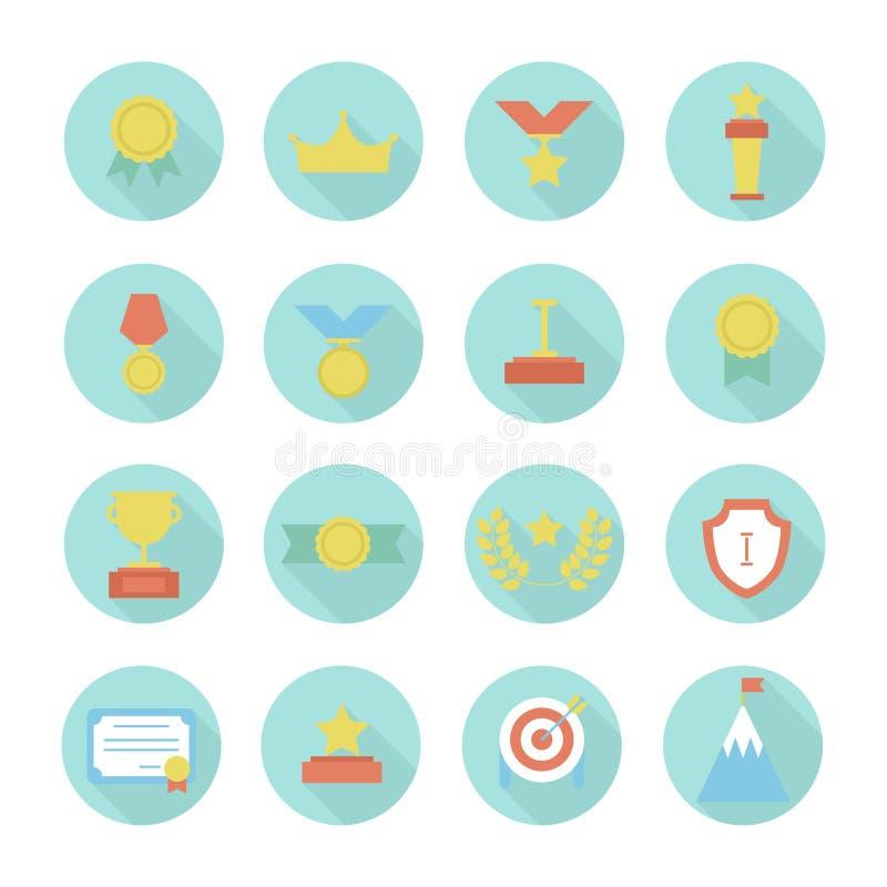 奖象 传染媒介五颜六色的套奖和 库存例证