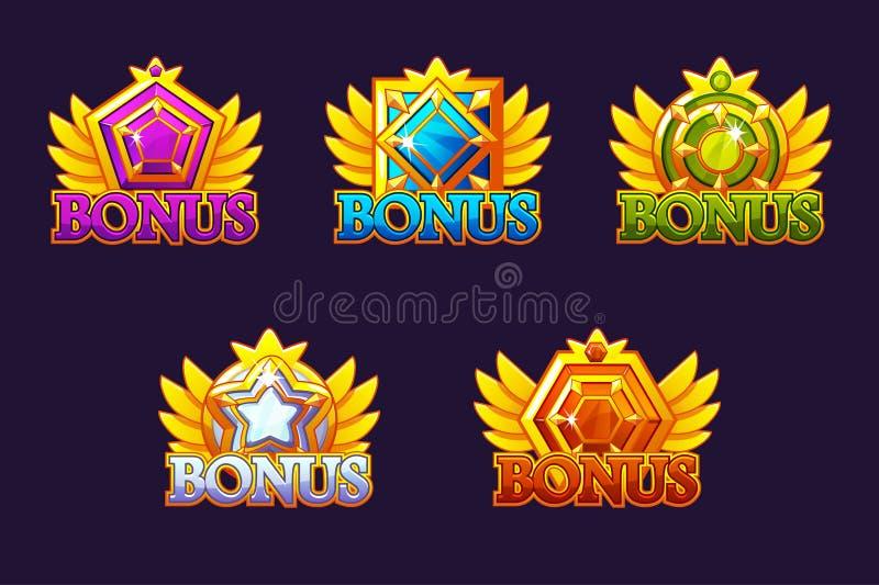 奖金象集合 导航五颜六色的首饰石头 与宝石的奖 赌博娱乐场和UI的比赛财产 向量例证