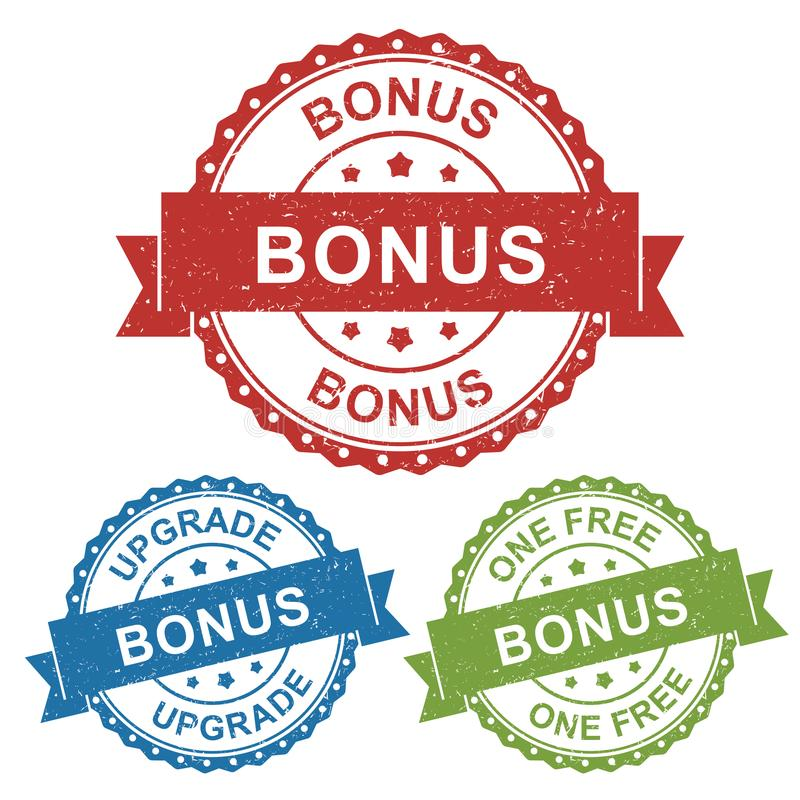 奖金,升级,一个自由,传染媒介徽章标签产品的邮票标记,销售卖网上商店或网电子商务 向量例证