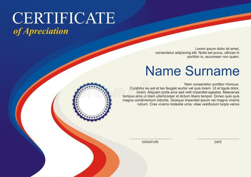 奖-与现代设计的文凭模板 皇族释放例证