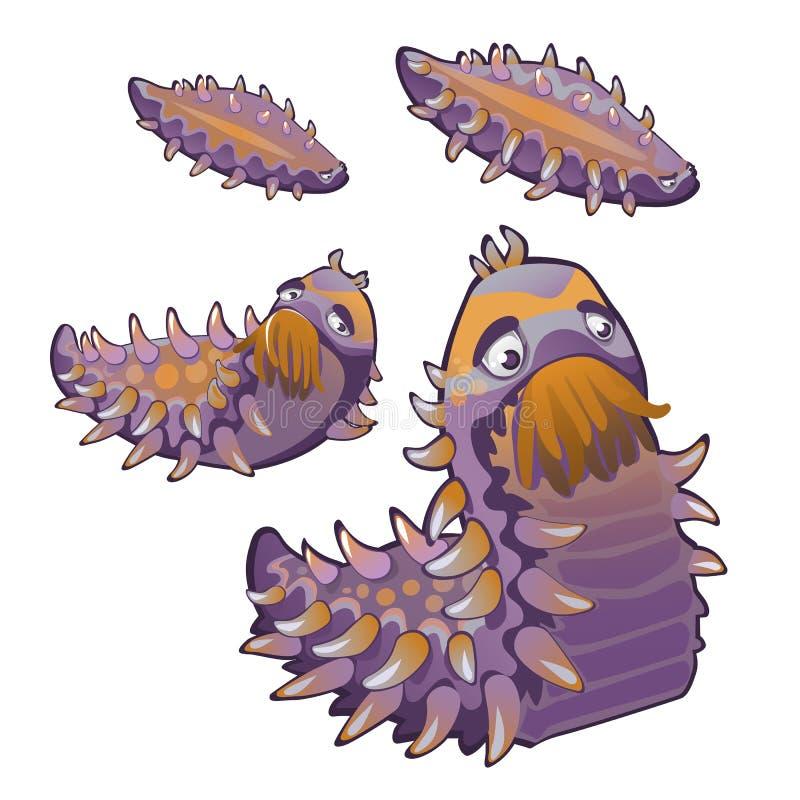 套一个与钉和触手的生长幻想毛虫的阶段 也corel凹道例证向量 向量例证