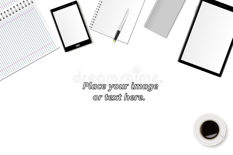 套一个现代办公室和工作区的设计的传染媒介例证 一张桌的顶视图与片剂计算机, smartph的 皇族释放例证