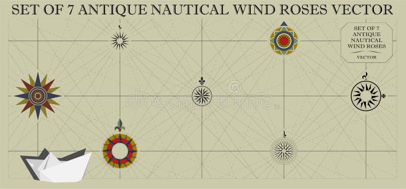套七个古色古香的船舶风向玫瑰图 库存例证