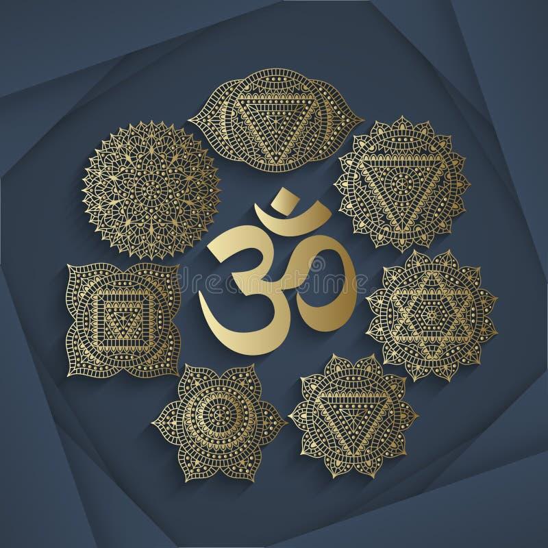 套七个chakras和标志OM在中心 东方装饰品无刺指甲花纹身花刺的和您的设计的 向量例证