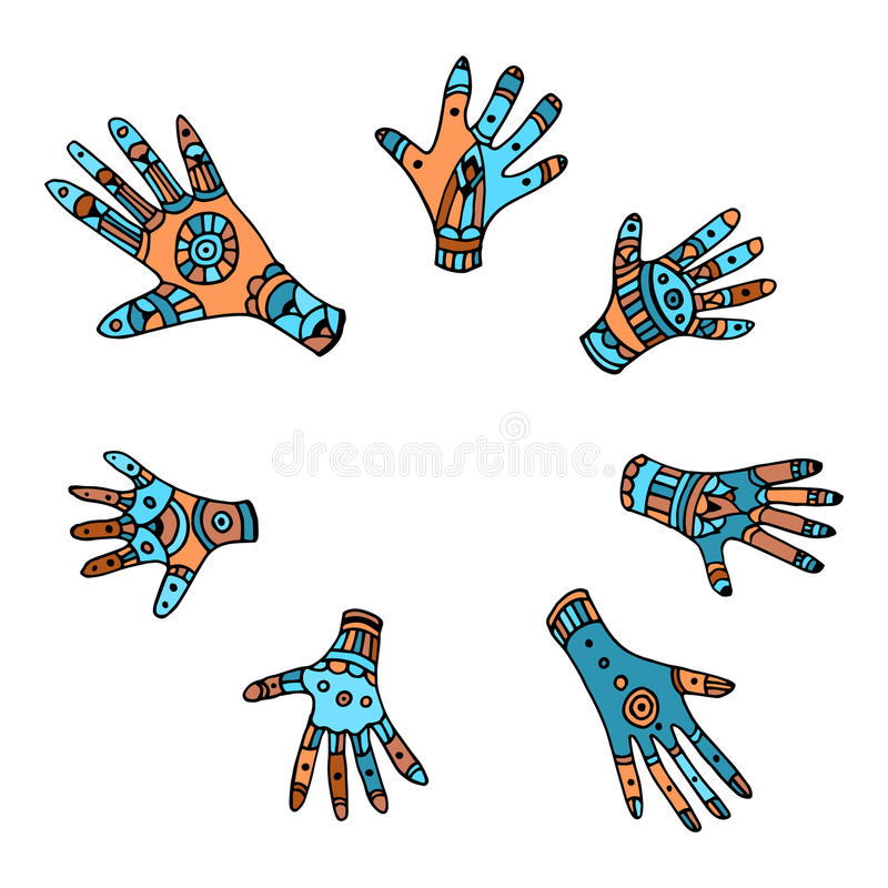 套七棵色的手拉的种族棕榈 库存例证