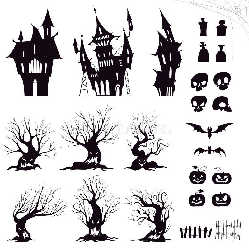 套万圣夜阴沉的房子、阴险树、篱芭、坟墓、头骨、南瓜和棒的剪影 皇族释放例证