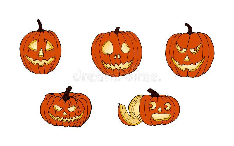 套万圣节的南瓜 面对滑稽 秋天假日 向量 免版税库存图片