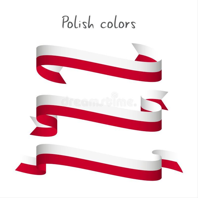 套三与波兰颜色的现代色的传染媒介丝带 向量例证