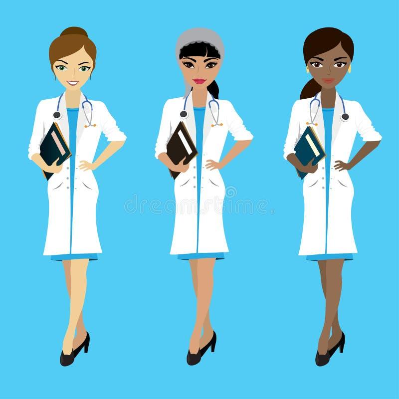 套三位女性医生用在蓝色backgroun的不同的种族 库存例证
