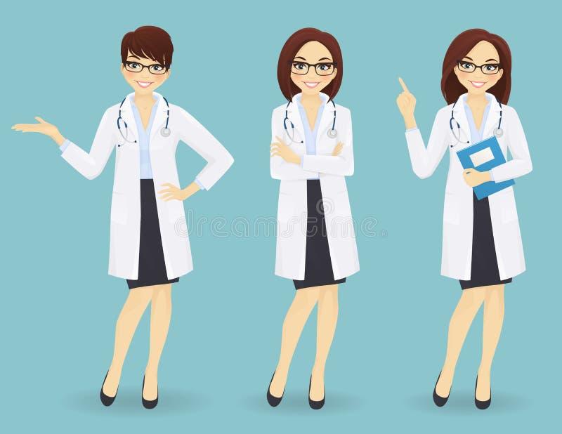 套三位女性医生用不同的姿势 皇族释放例证