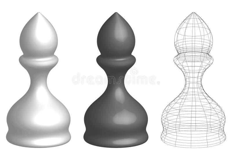 套三位3d棋主教 向量例证