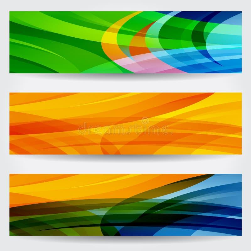 套三副抽象五颜六色的网横幅 皇族释放例证