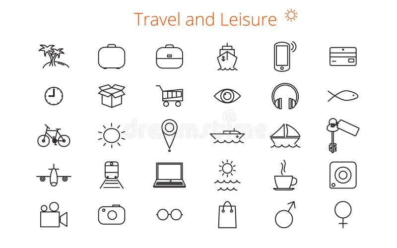套三十平的线一本站点或小册子的象关于旅行和休闲 向量例证