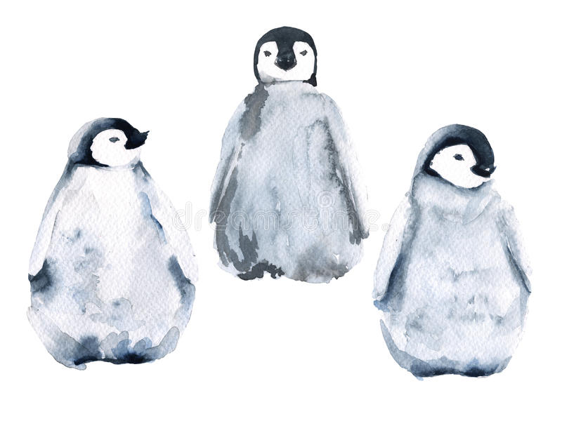 套三只小的企鹅 背景查出的白色 额嘴装饰飞行例证图象其纸部分燕子水彩 皇族释放例证