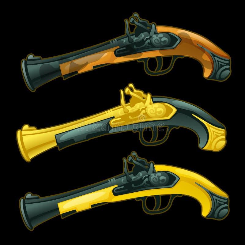 套三把古老手枪特写镜头 向量例证