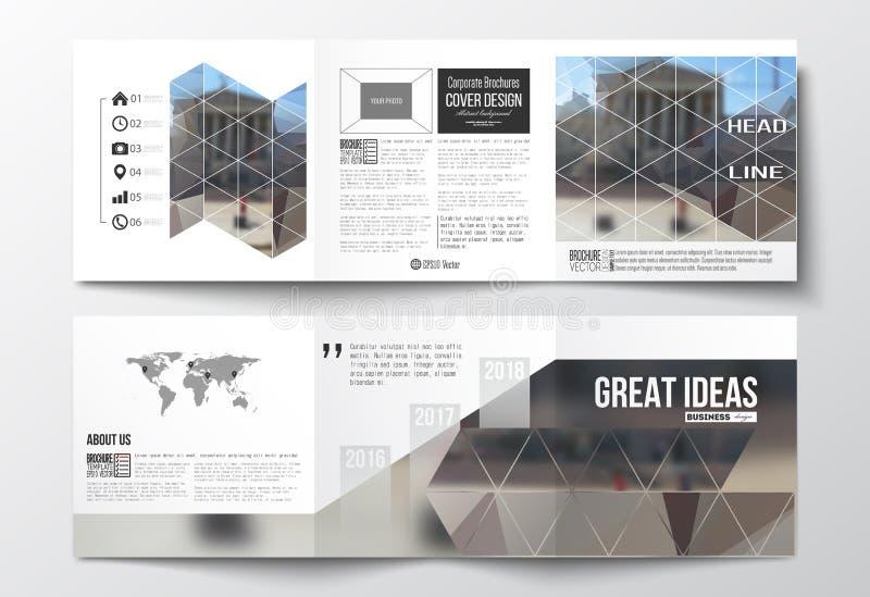 套三部合成的小册子,方形的设计模板 多角形背景,被弄脏的图象,都市风景,现代时髦 向量例证