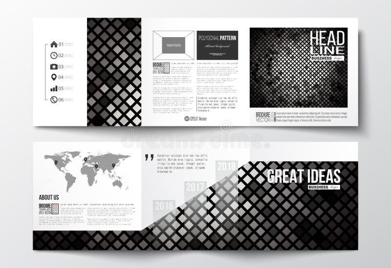 套三部合成的小册子,方形的设计模板 抽象多角形背景,现代时髦的银色传染媒介纹理 皇族释放例证