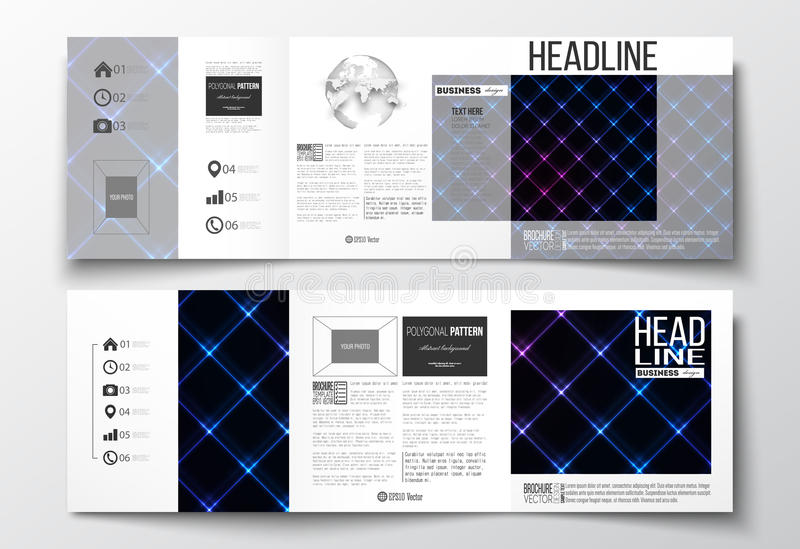 套三部合成的小册子,方形的设计模板 抽象多角形背景,现代时髦的sguare传染媒介纹理 库存例证