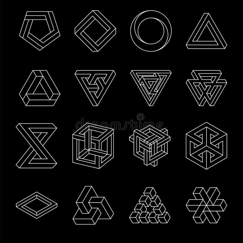 套不可能的形状 光学的幻觉 蝴蝶 神圣的几何 在a的空白线路 库存例证