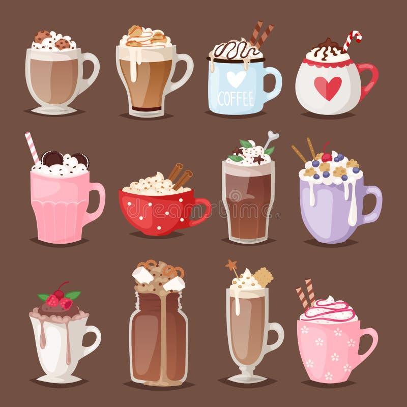 套不同的咖啡杯键入有泡沫饮料玻璃传染媒介例证的杯子 库存例证