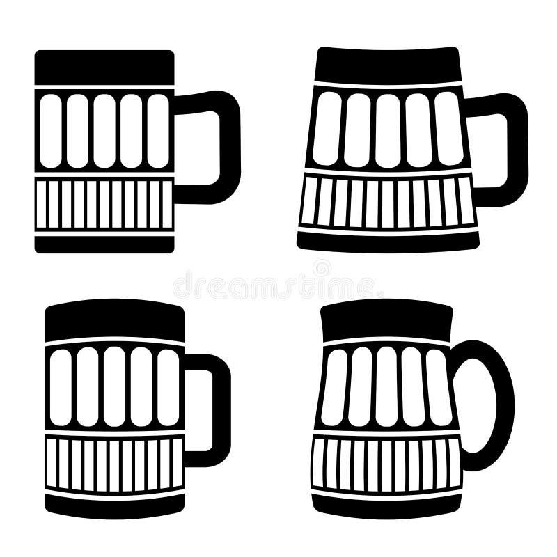 套不同的啤酒杯 皇族释放例证