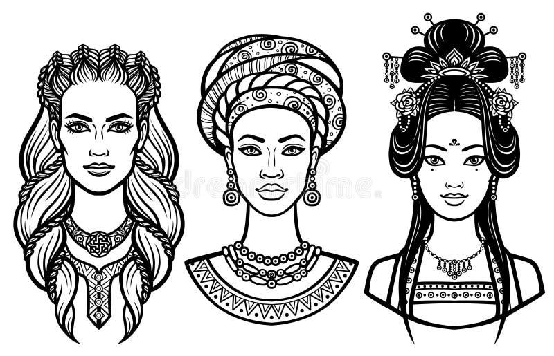 套不同的国家的画象年轻美丽的妇女 库存例证