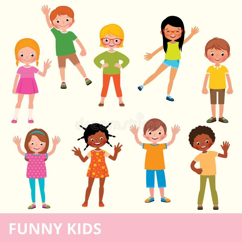 套不同的国籍的孩子在各种各样的姿势laug 向量例证