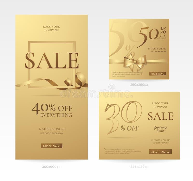 套不同的大小时髦的金黄销售横幅与弓、框架和丝带的 向量例证