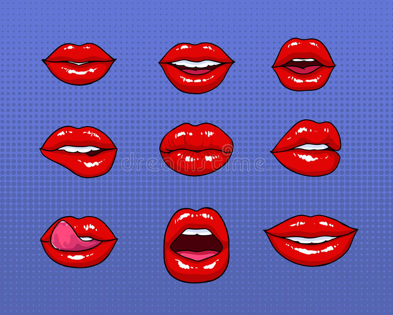 套不同的女性红色嘴唇 时尚修补元素,徽章汇集 漫画装腔作势地说与微笑,舌头,牙 皇族释放例证