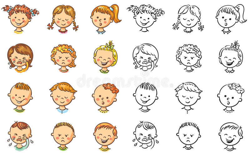 套不同的孩子激动各种各样的 向量例证