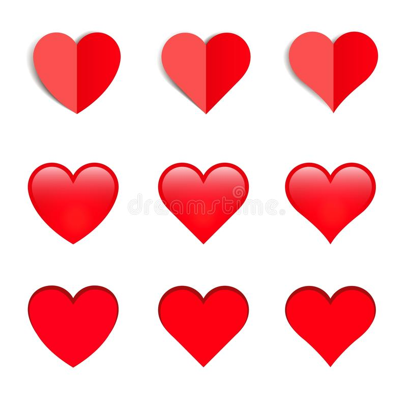 套不同的形状导航与阴影的心脏 向量例证