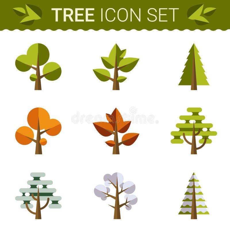 套不同的树,岩石,草 魍魉为 向量例证