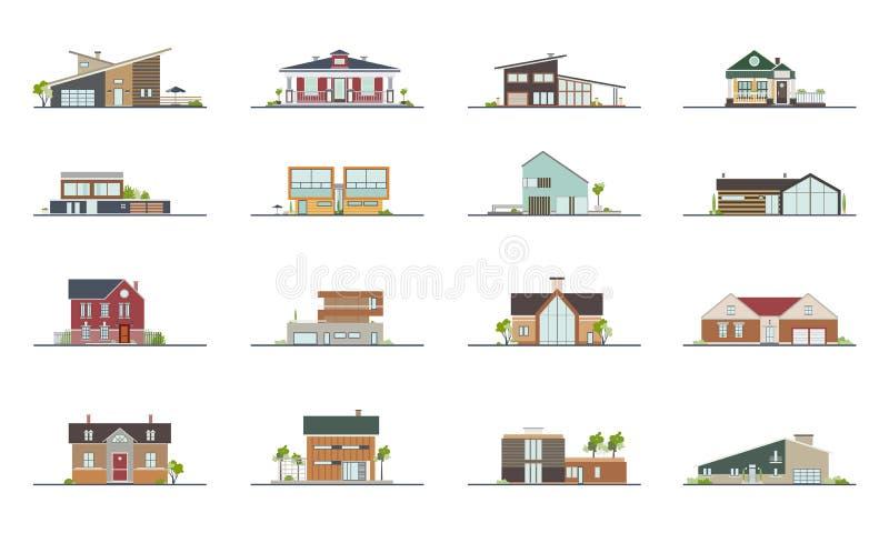 套不同的样式住宅房子 五颜六色的平的传染媒介例证 汇集大厦别墅,村庄 库存例证