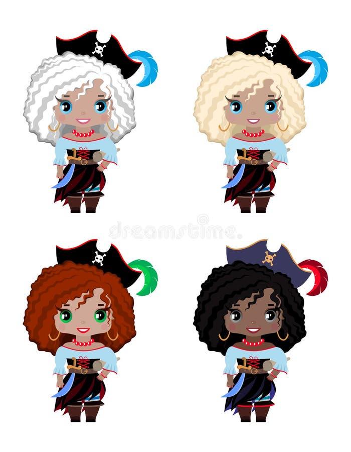 套不同的种族、头发和眼睛颜色的小女孩海盗 皇族释放例证