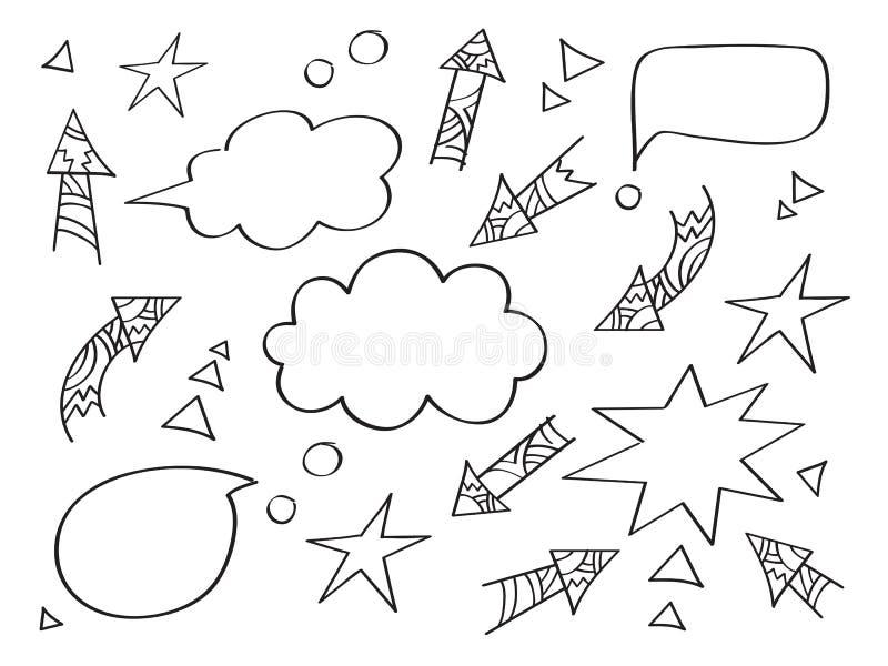 套不同的箭头和讲话泡影 手图画元素 向量例证