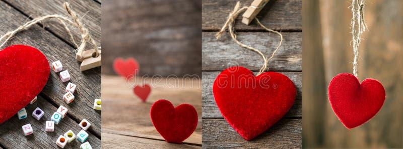 套不同的红色华伦泰心脏照片 免版税库存照片