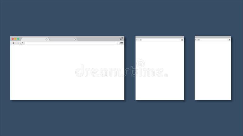 套不同的设备的平的空白的浏览器视窗 计算机,片剂,电话大小 设备象:巧妙的电话、片剂和书桌 向量例证