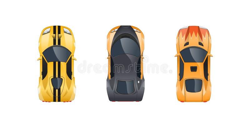 套不同的跑车,不同的颜色,特征,品牌,类型 皇族释放例证