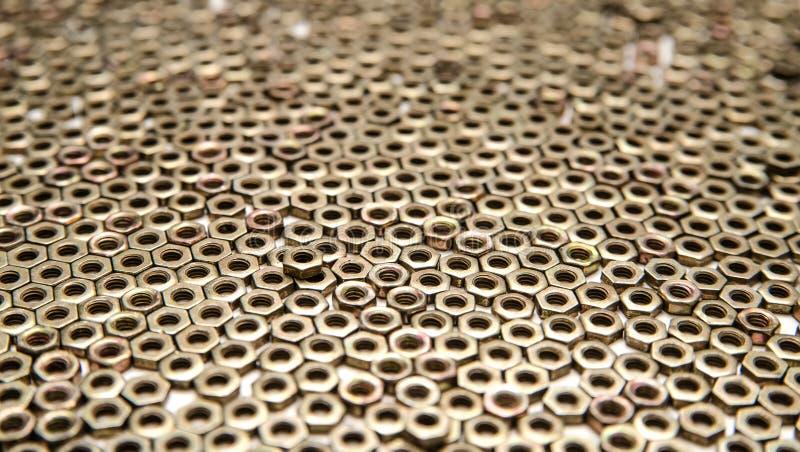 套不同的钉子,螺丝,坚果,螺栓 免版税图库摄影