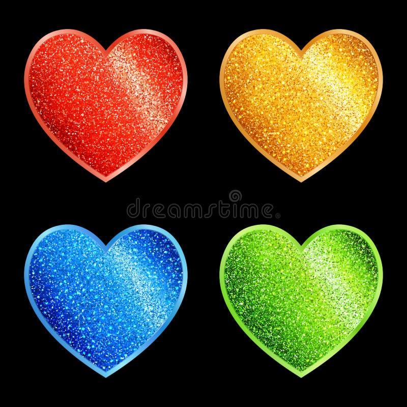 套不同的颜色的被隔绝的风格化闪烁的心脏 皇族释放例证