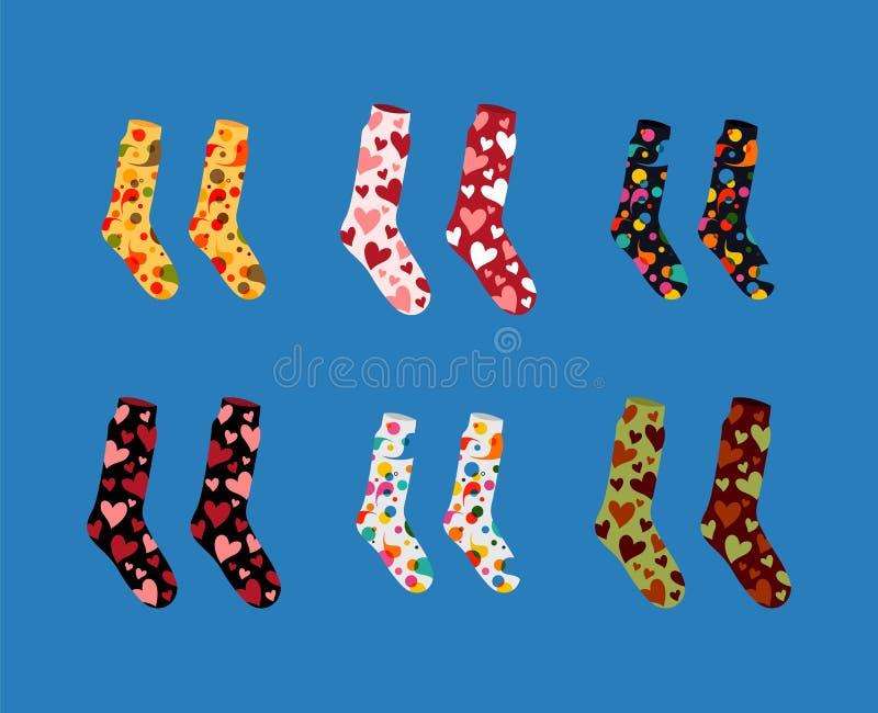 套不同的颜色纹理和样式传染媒介袜子  向量例证