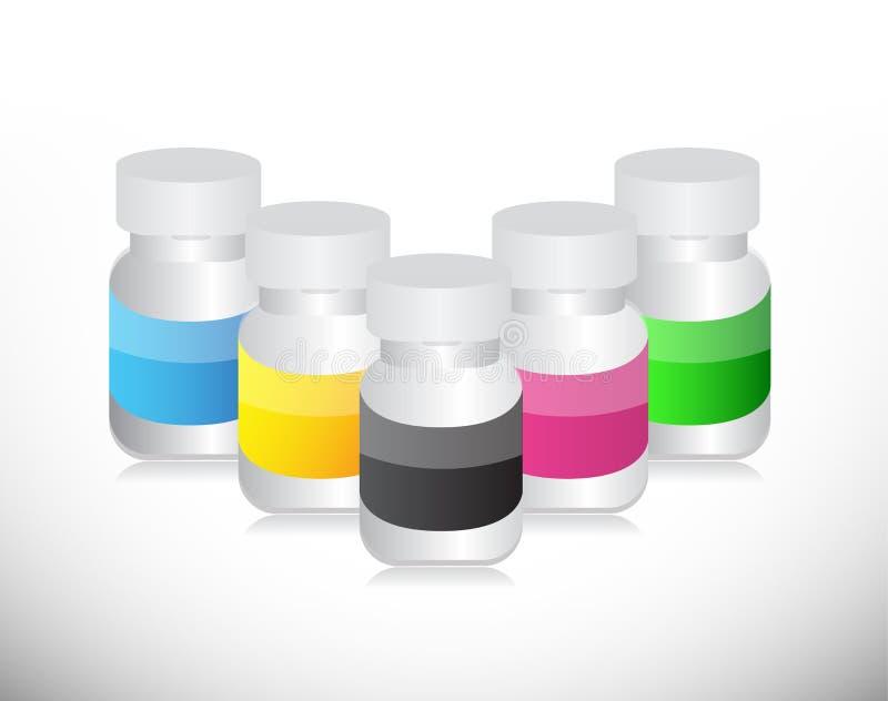 套不同的颜色医学药片瓶子 向量例证
