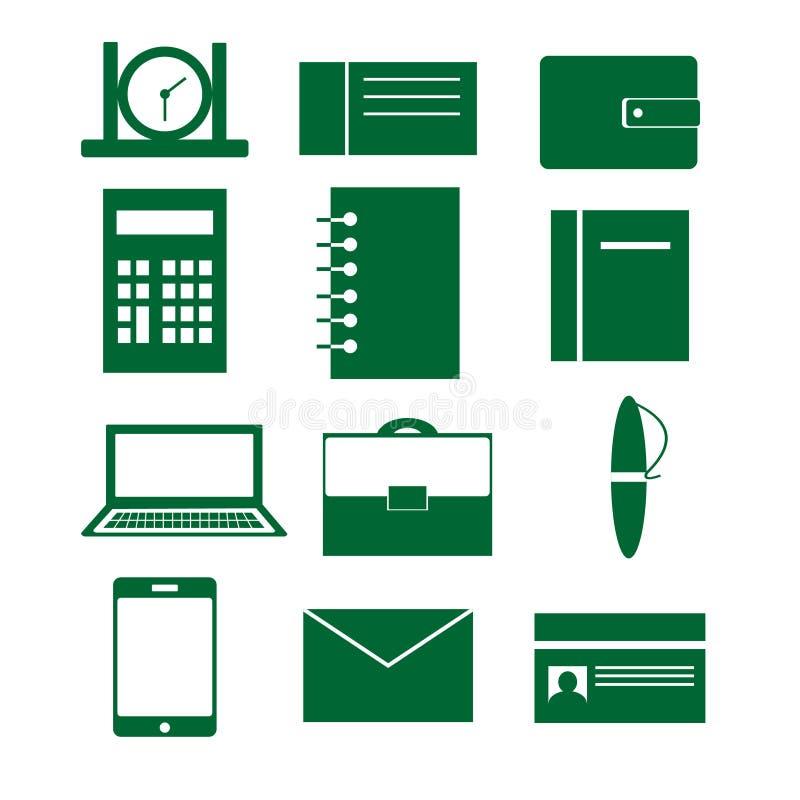 套与事务、工作和办公室的元素的传染媒介象 库存例证