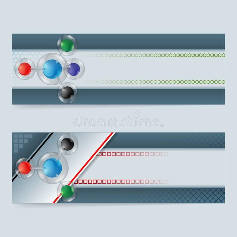 套与五颜六色的球形的横幅在玻璃按钮/球形 向量例证